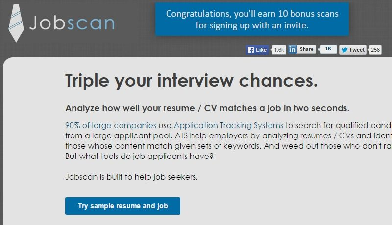 Resume and CV Optimization Jobscan front end interview prep - top resume keywords