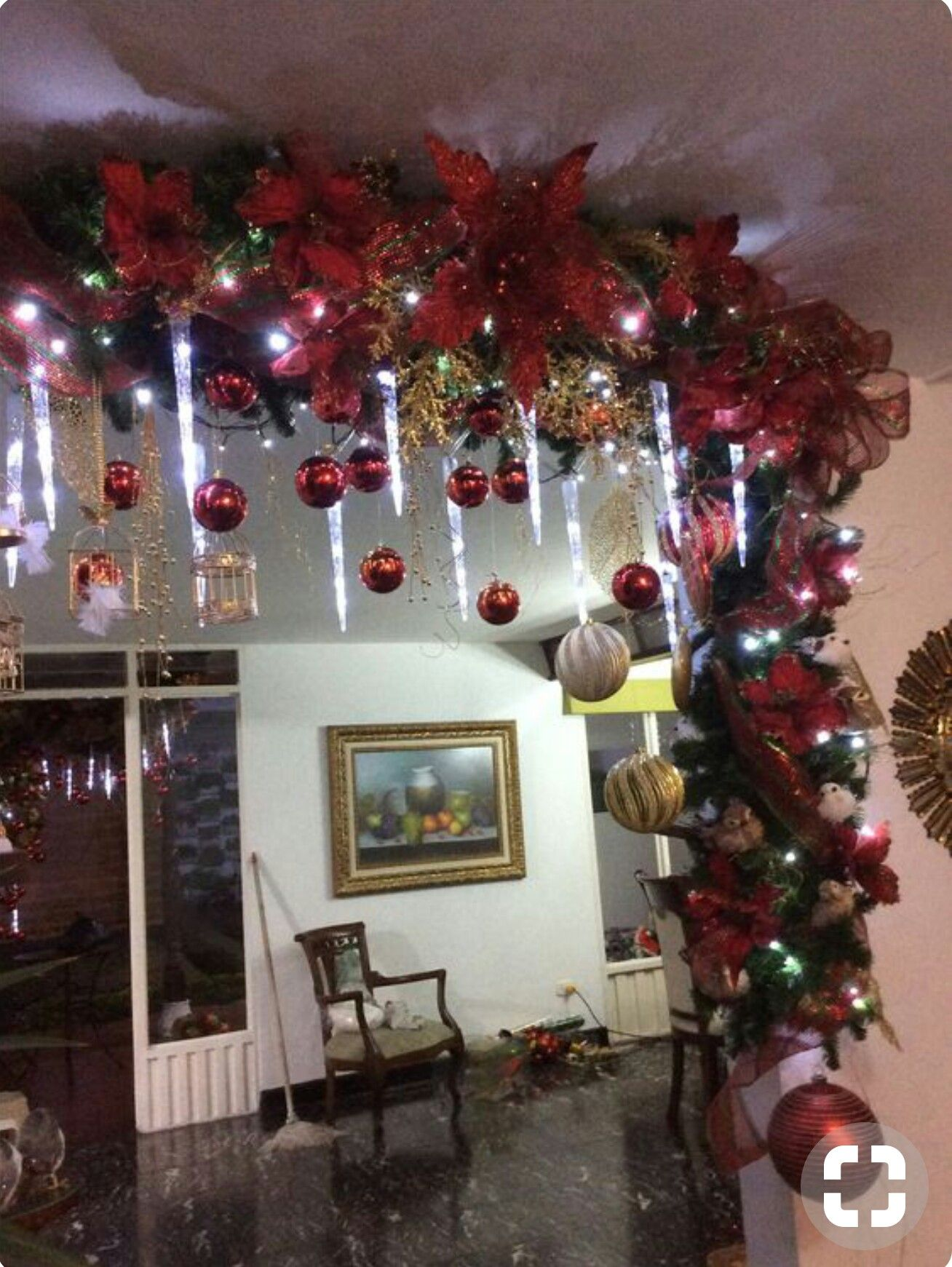Do Something Like This On The Exposed Beams In The Living Room Christmas Diy Christmas Tree Decorations Indoor Christmas Decorations