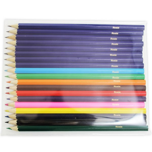 Personalised colouring pencils are an absolute winner for gift giving especially for those children at school.  A wonderful little gift for someone starting school or perhaps as a Christmas stocking filler.  Please note that accents and symbols cannot be printed on personalised pencil sets and name will always appear in Upper and Lower Case.