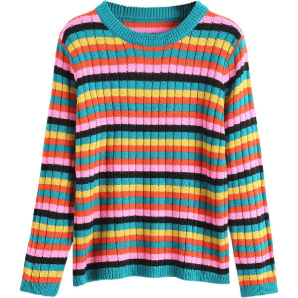 Crew Neck Multicolored Striped Sweater Multi S (39 CAD) ❤ liked on Polyvore featuring tops, sweaters, zaful, colorful sweaters, multi color sweater, blue crewneck sweater, blue striped sweater and multi colored striped sweater
