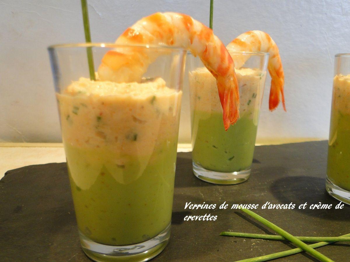 Verrines de mousse davocats et crème de crevettes