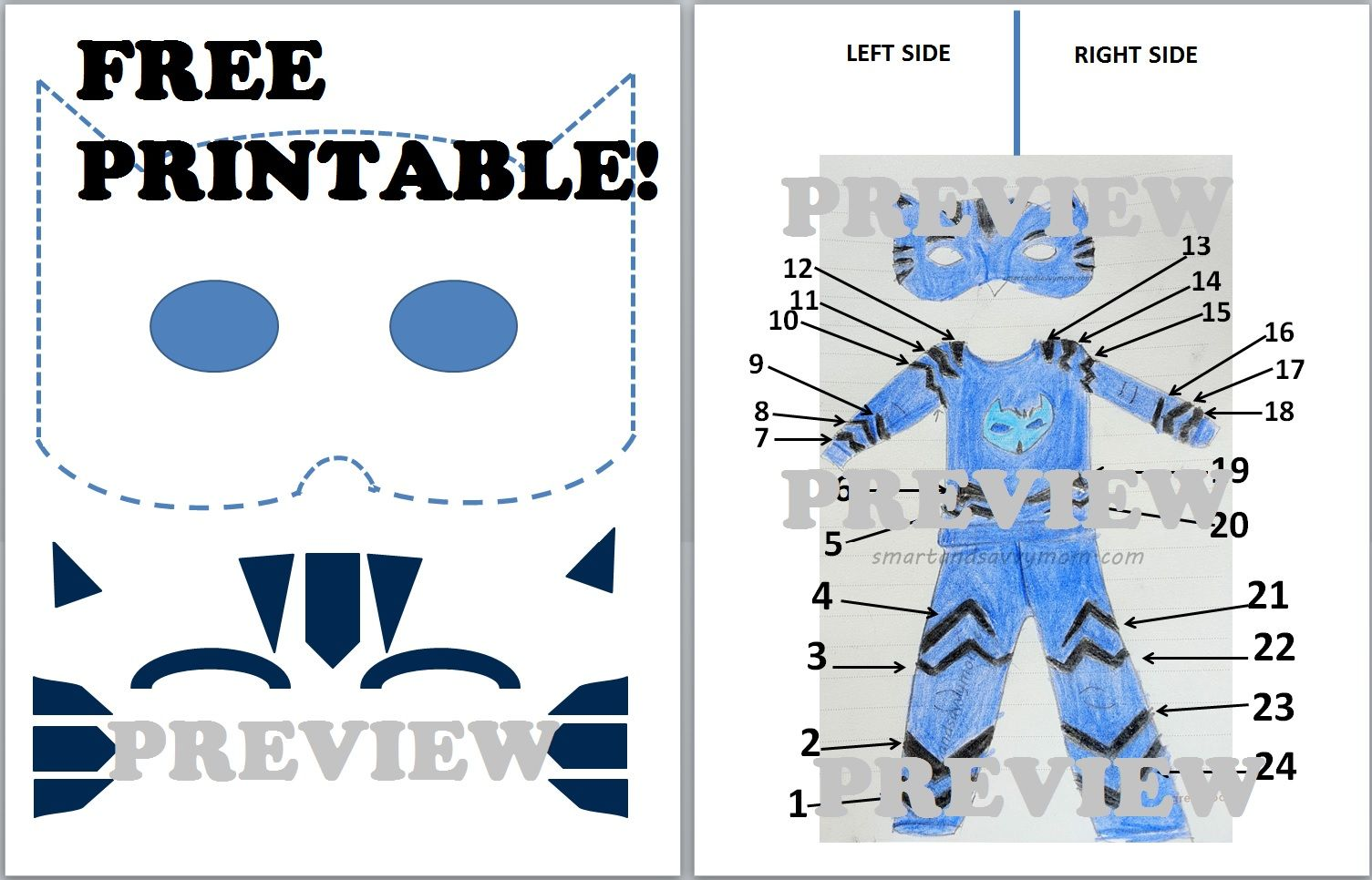 Free Printable Template For Diy Catboy Pj Cat Hero Preview