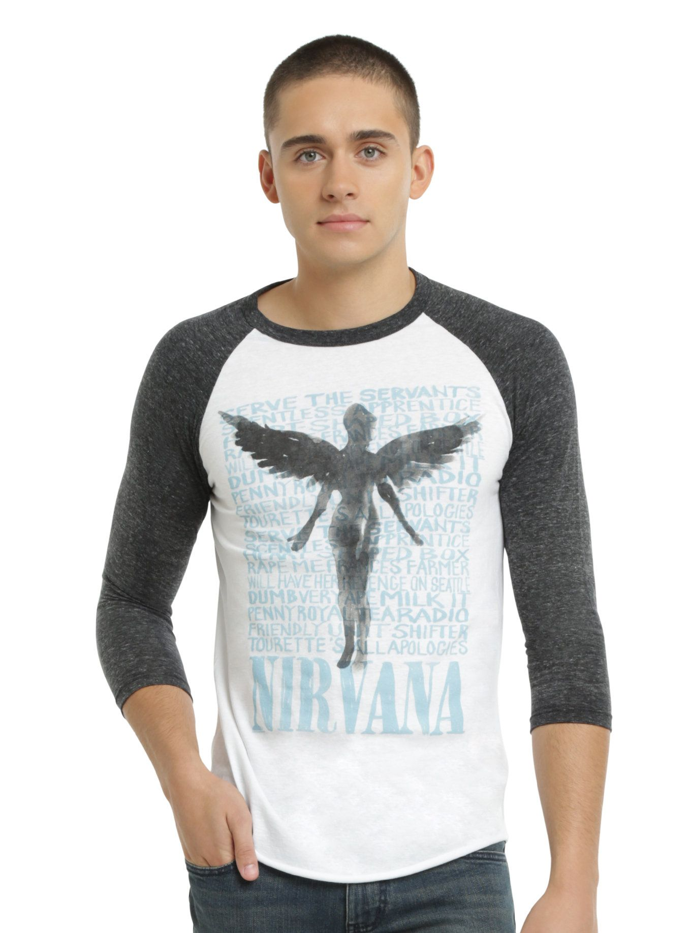 """<p>Raglan style shirt from Nirvana with a large <i>In Utero</i> inspired design that features an ink wash angel & album track listing design on front. Charcoal heather sleeves. White body.</p>  <ul>  <li style=""""LIST-STYLE-POSITION: outside !important; LIST-STYLE-TYPE: disc !important"""">50% cotton; 50% polyester</li>  <li style=""""LIST-STYLE-POSITION: outside !important; LIST-STYLE-TYPE: disc !important&q..."""