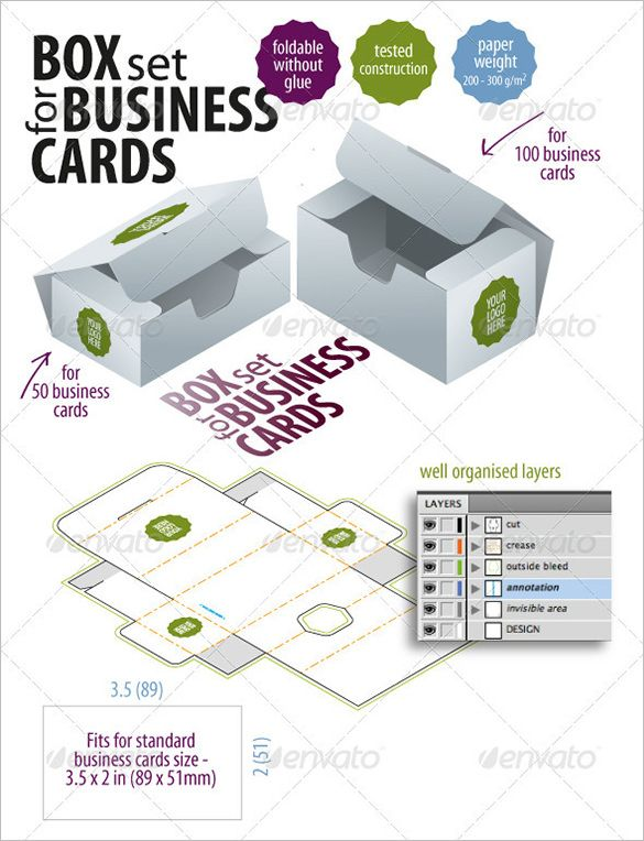 Free Premium Templates Folded Business Cards Packaging Template Box Template