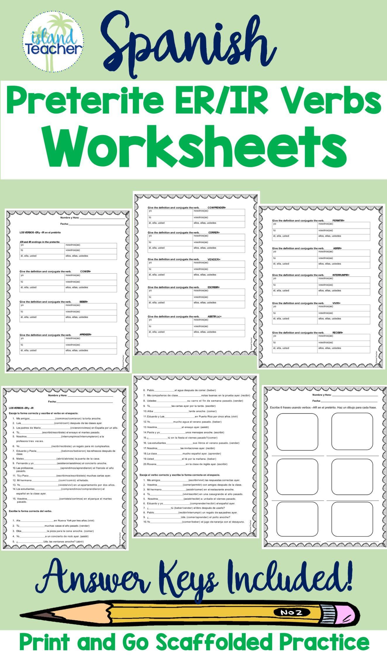 Spanish Preterite Er Ir Verbs Worksheets Verb Practice Verb Worksheets Preterite Spanish [ 2249 x 1323 Pixel ]