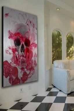 skull 2 aluminum wall art home sweet style pinterest wandgestaltung deko and deko ideen. Black Bedroom Furniture Sets. Home Design Ideas