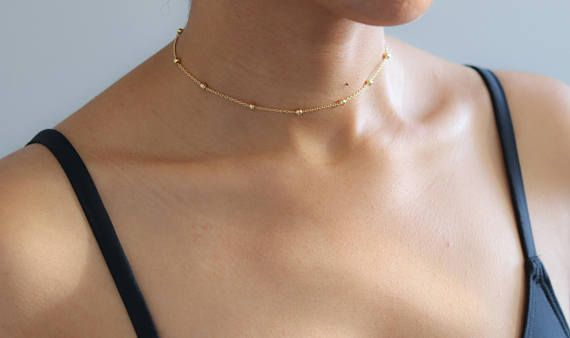 250f6c81c4fca Delicate Gold Necklace - Satellite Bead Necklace - Dainty Gold ...