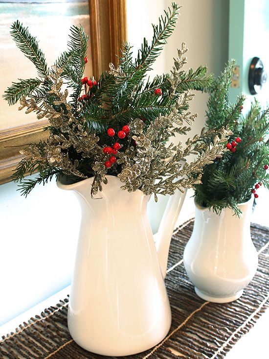 faux evergreen eucalyptus stems and berry branches are all you need to get the look of this classic holiday arrangement grab a bunch of each material and - Simple Christmas Centerpieces