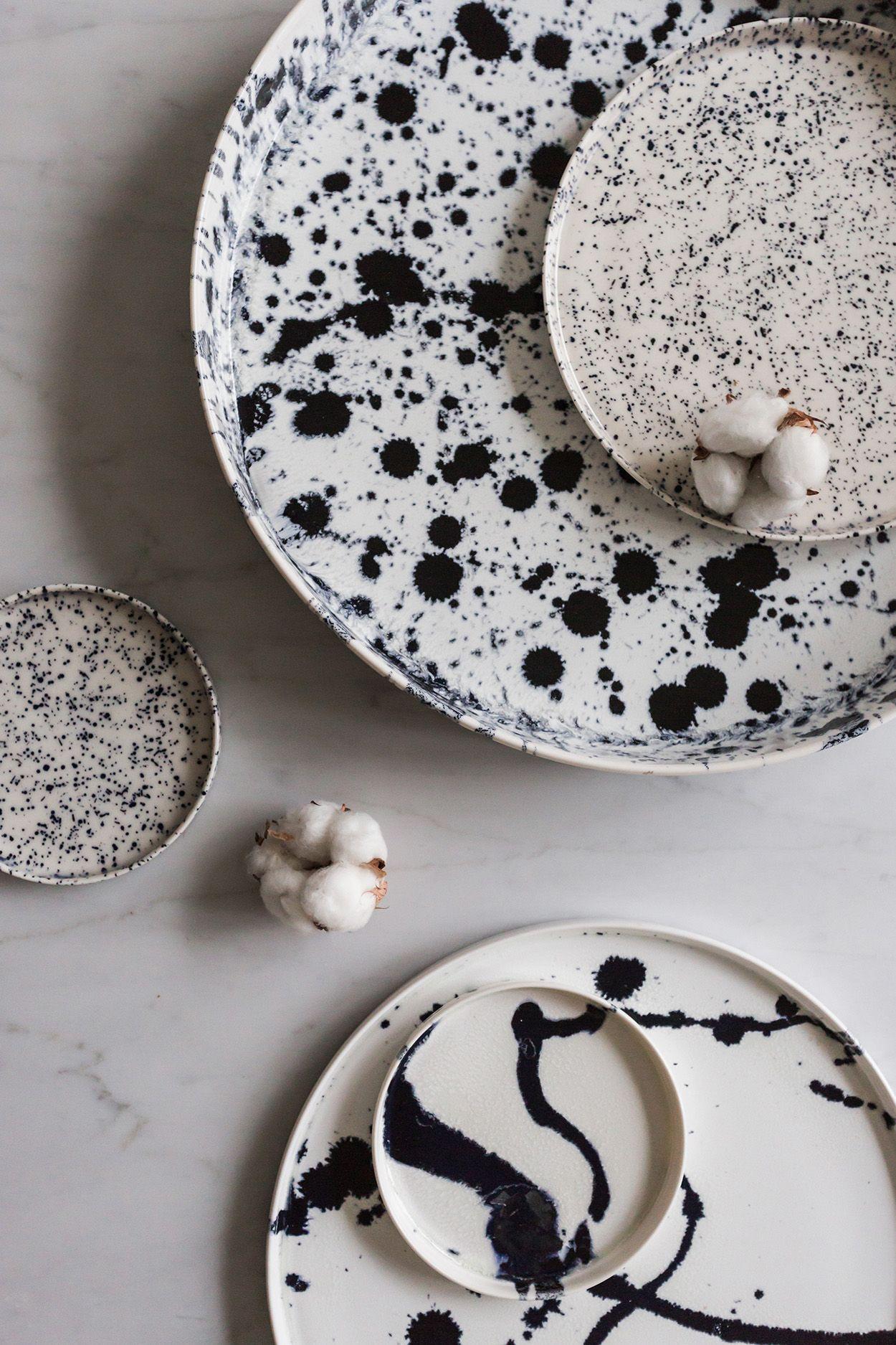 Monochrome Splatter Paint Ceramics; DIY craft project inspiration