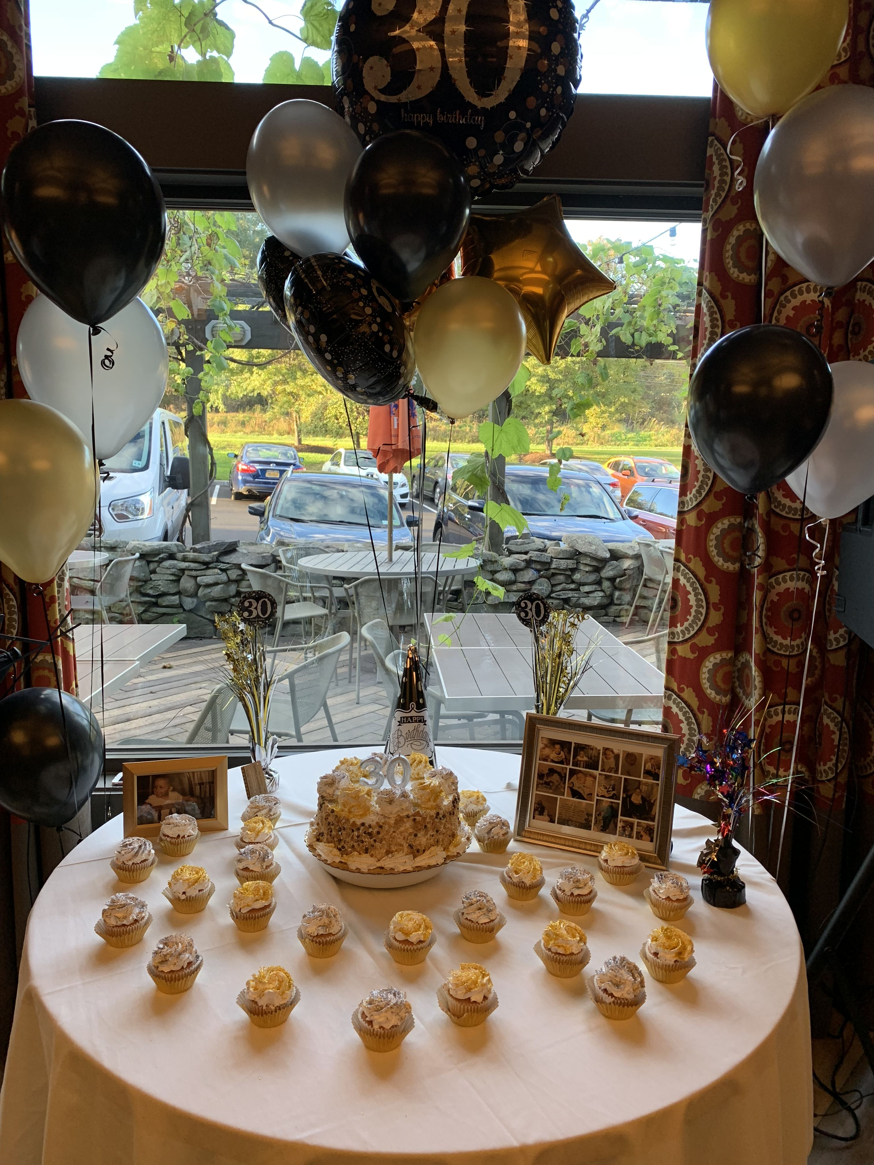 30th Birthday Simple Candy Table Gold Silver White Some Pictures Balloons On The Back And O Husband Birthday Parties Simple Table Settings 30th Birthday