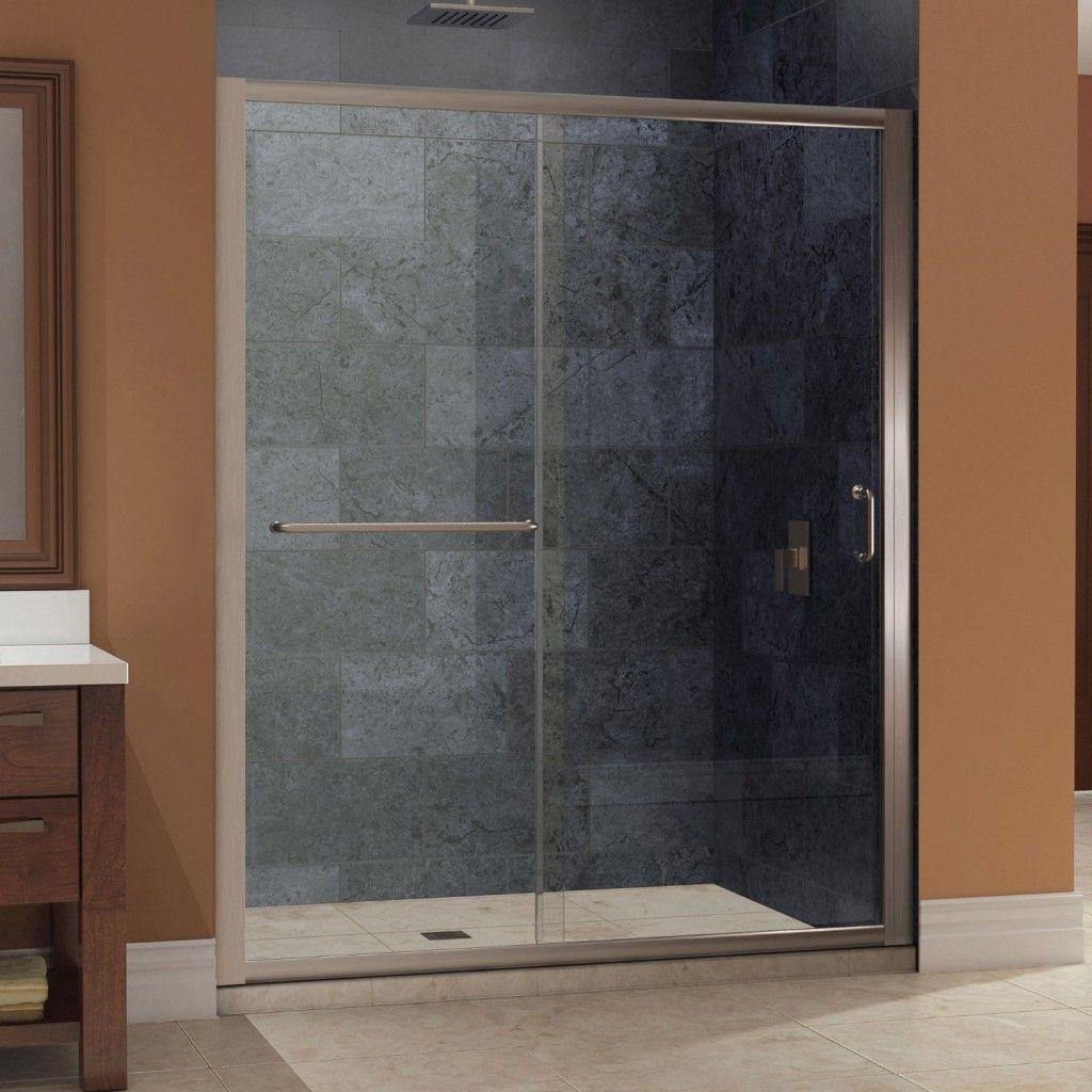 Door: Sliding Door Glass Bathroom With White Ceramic Floor And Wall ...