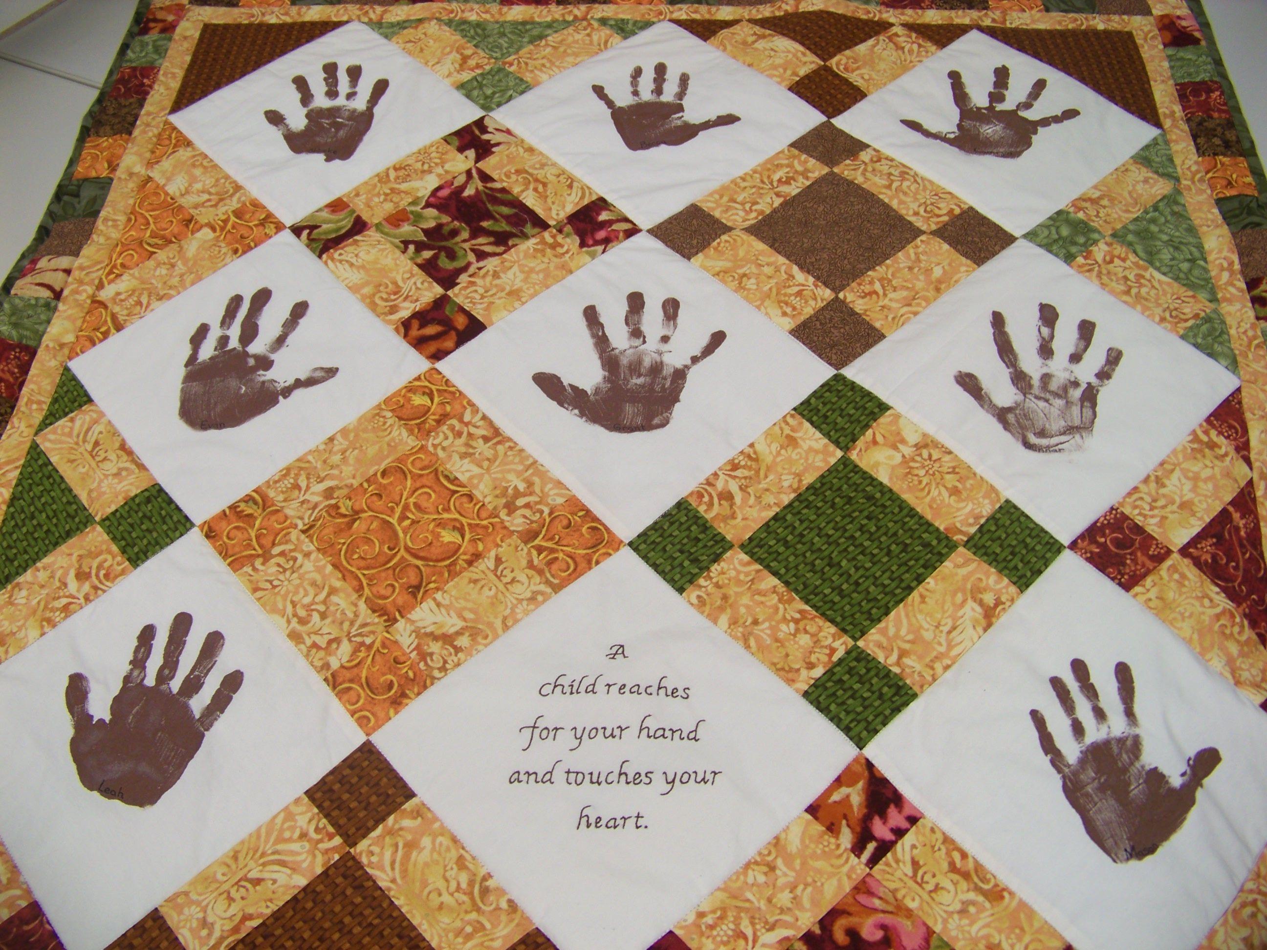 Quilting Class Ideas : Kindergarten handprint quilt. Class Auction Project Ideas Pinterest Auction projects ...