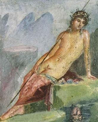 Pompeii, House of M. Lucretius Fronto. 'Narcissus at the Spring' wall painting - AD 79 eruption