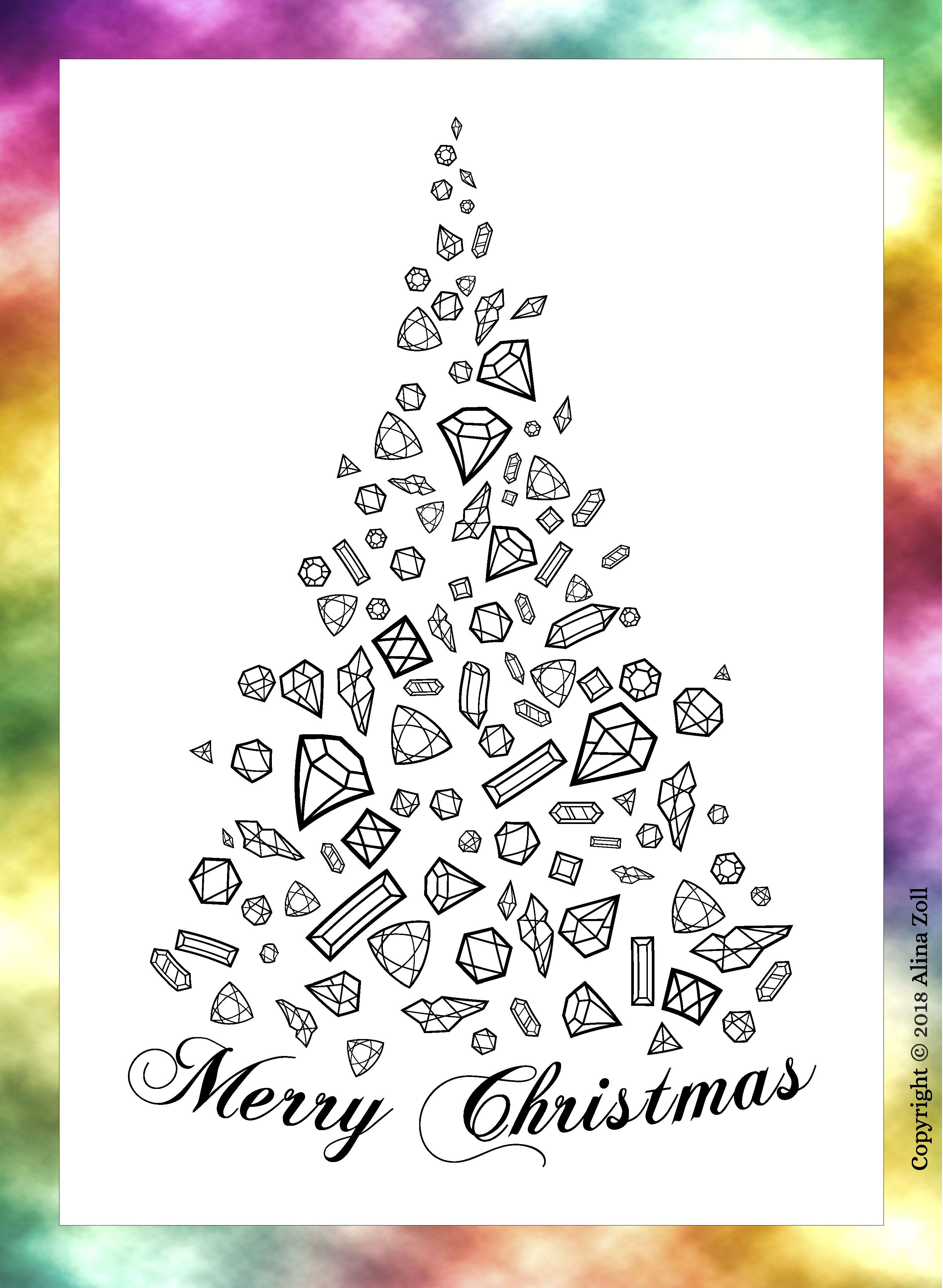 Christmas Coloring Page for Adult INSTANT DOWNLOAD   Digital ...
