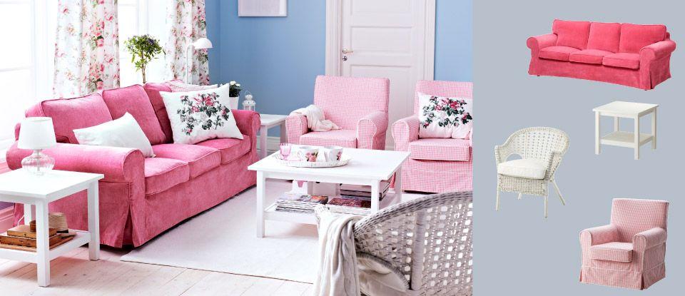 ein wohnzimmer eingerichtet mit ektorp 3er sofa mit bezug vellinge in rosa - Wohnzimmer Rosa Weis