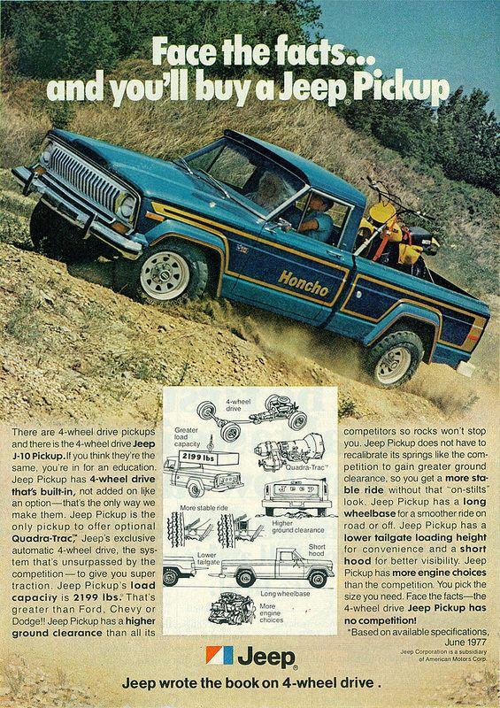 1978 Jeep J 10 Honcho 4x4 Pickup Truck Vintage Jeep Jeep Truck Pickup Trucks