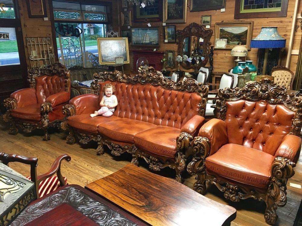 Massive Carved Rococo Italian Leather 3 Piece Sofa Suite Chesterfield Ebay Com Sofa Suites 3 Piece Sofa Sofa