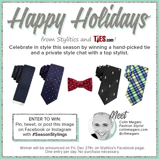 Share this image with #SeasonStylings for a chance to #win one of 5 hand-picked ties and a #style chat with @Colin Megaro! @Ties.com®