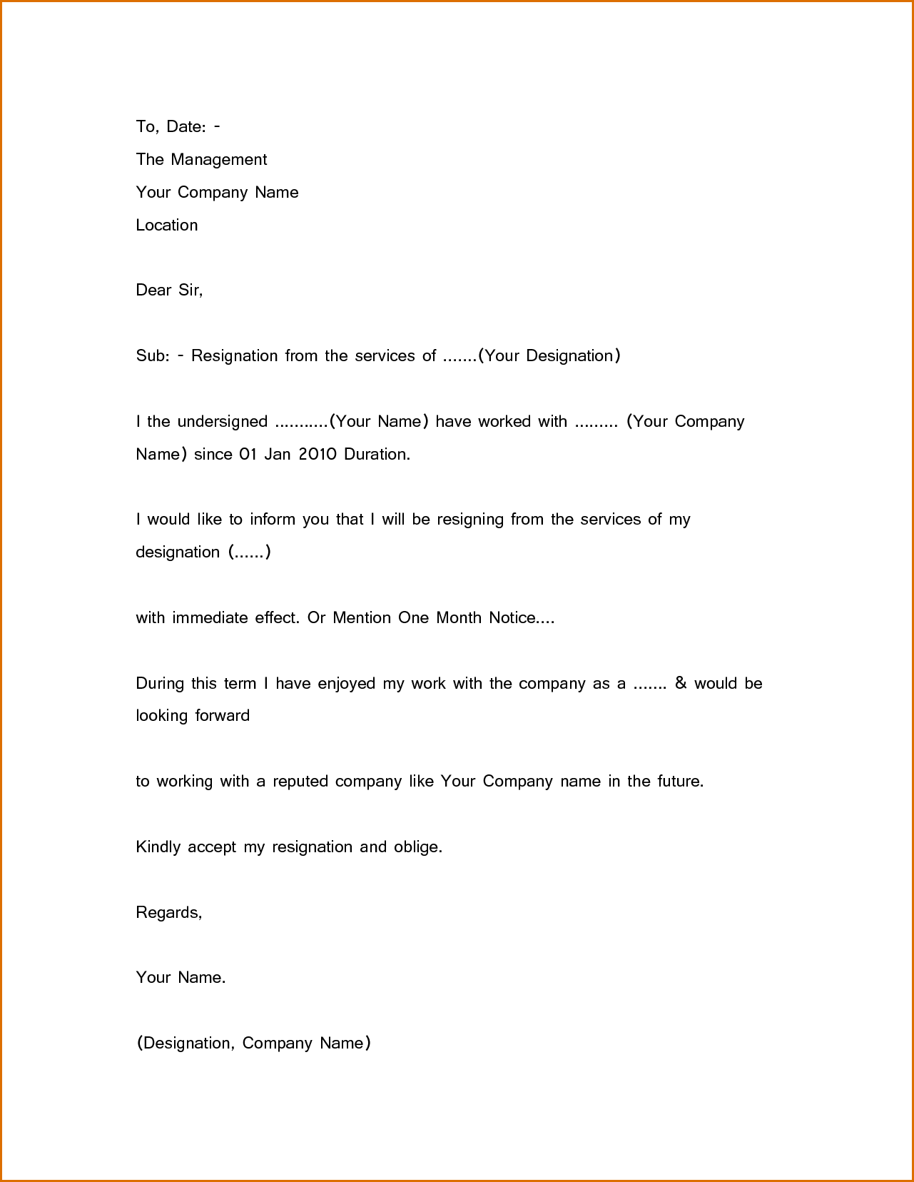 Simple Resignation Letter Sample 1 Month Notice