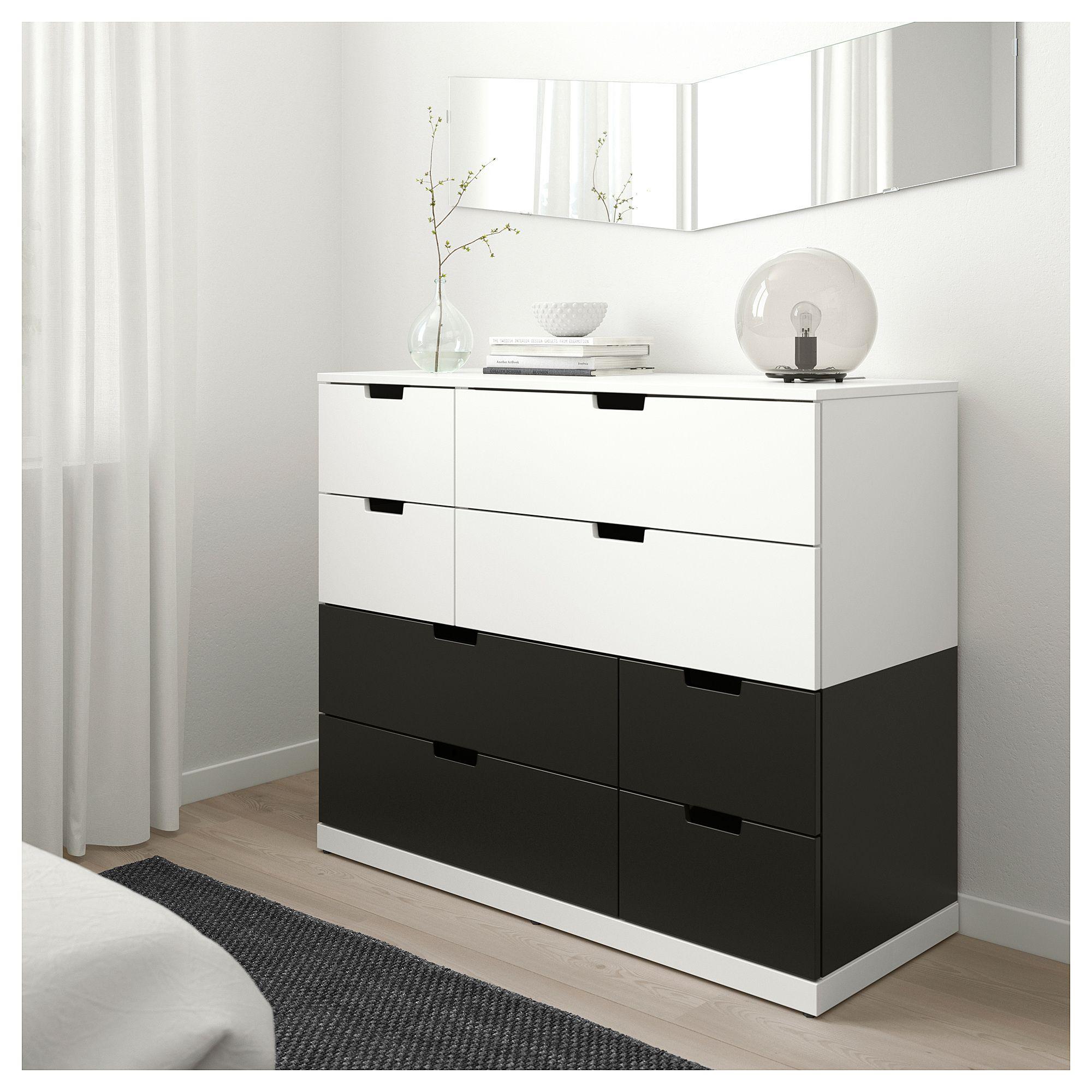 Nordli 8 Drawer Dresser White Anthracite 47 1 4x39 120x99 Cm