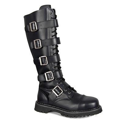 d0aa847a22e RIOT-20 Black Leather Demonia Combat Boots