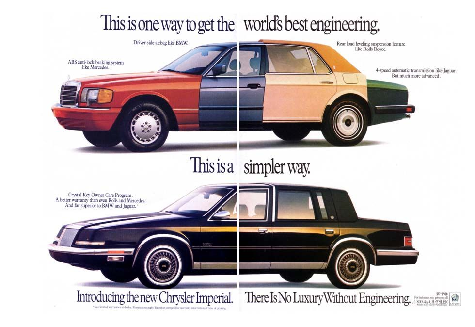 1990 Chrysler Imperial Ad I Guess This Was Why The Imperial Did So Well P Chrysler Imperial Car Advertising Car Ads