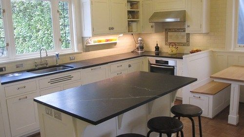 Black soapstone Kitchen with white subway tile backsplash – CROCODILE ROCKS
