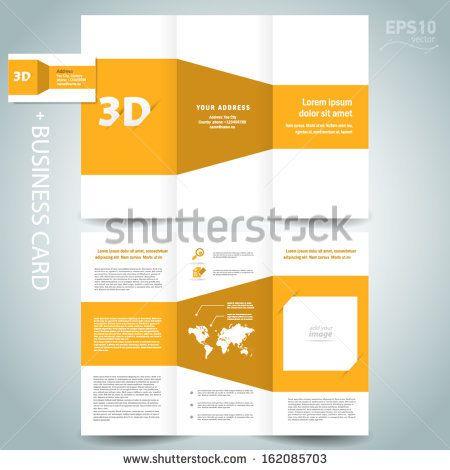 3d Dimensional Design Brochure Template Folder Leaflet Yellow