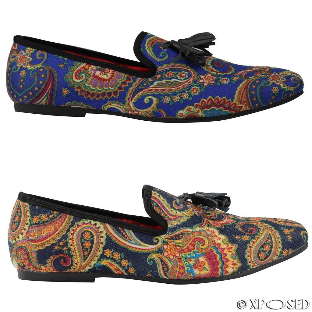 bfd8c04c906 Mens Vintage Black Blue Designer Style Paisley Print Leather Tassel Loafer  Shoes