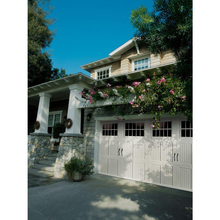 Classica northampton garage door white 9 x 8 no windows - Amarr Garage Doors Classica Collection Tuscany Design With Madeira Windows And Blue Ridge Handles In True White Almond