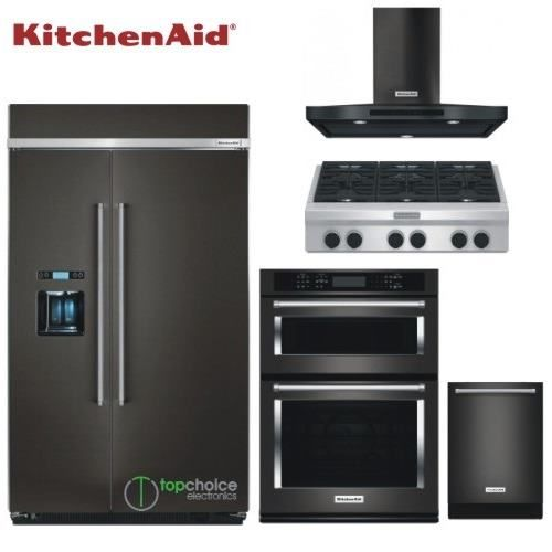 Kitchenaid Black Stainless Steel Complete Kitchen Package: KitchenAid Built In Appliances Package In Black Stainless Steel 48 Inch Side By Side Wall Oven