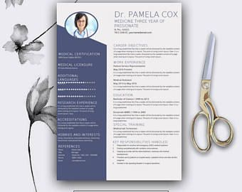 best resume template cover letter for ms word medical cv design instant download - Resume Templates Microsoft Word