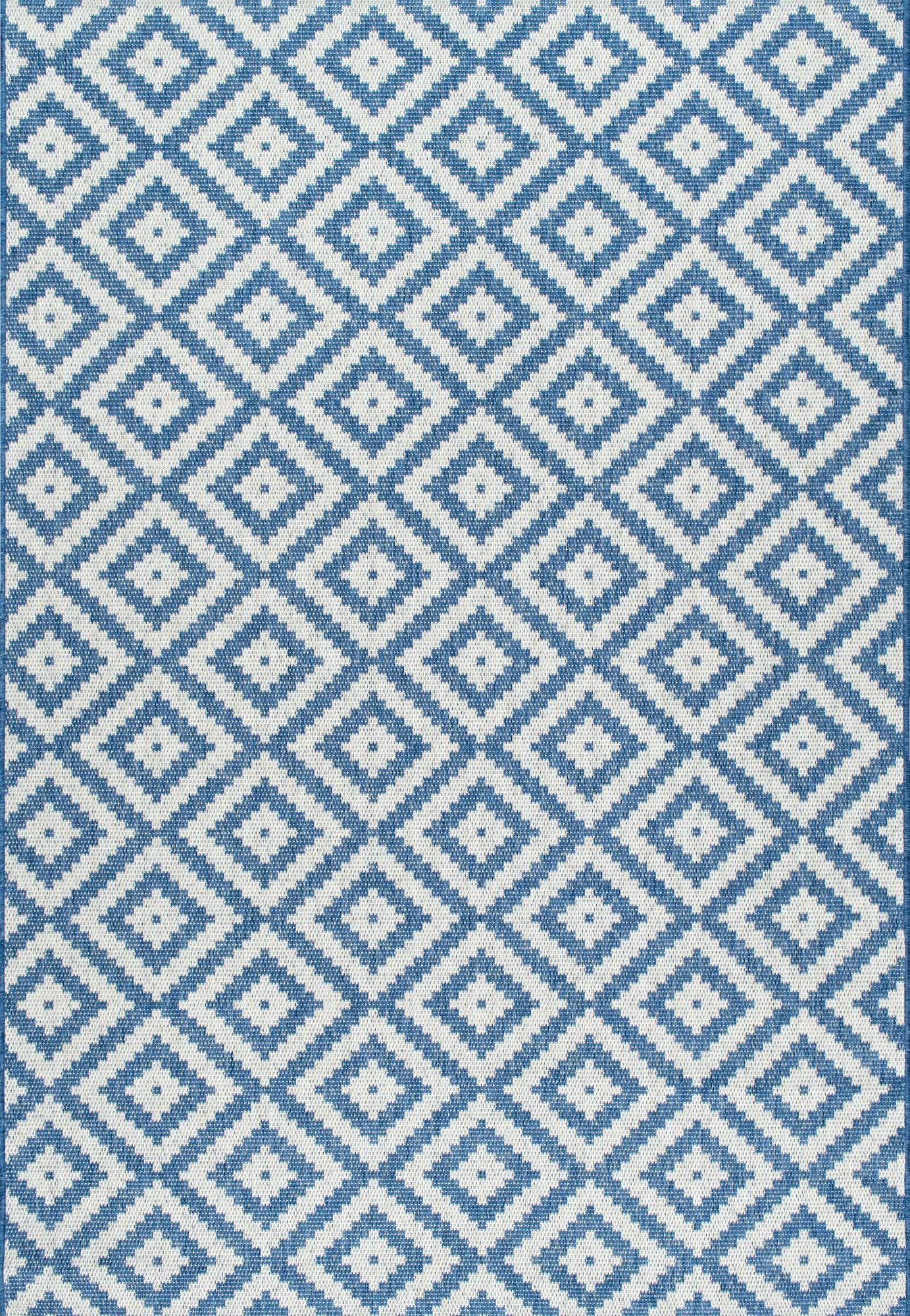 Rugs Usa Blue Aperto Outdoor Tribal Diamond Trellis Rug
