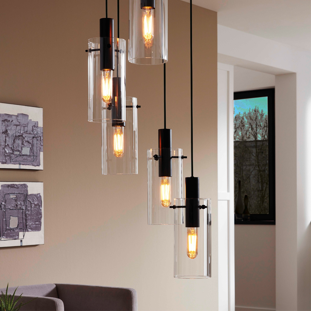 Exterior Lightingdesign Ideas: Montefino Pendant 5L 60W E27 Black/Glass #light