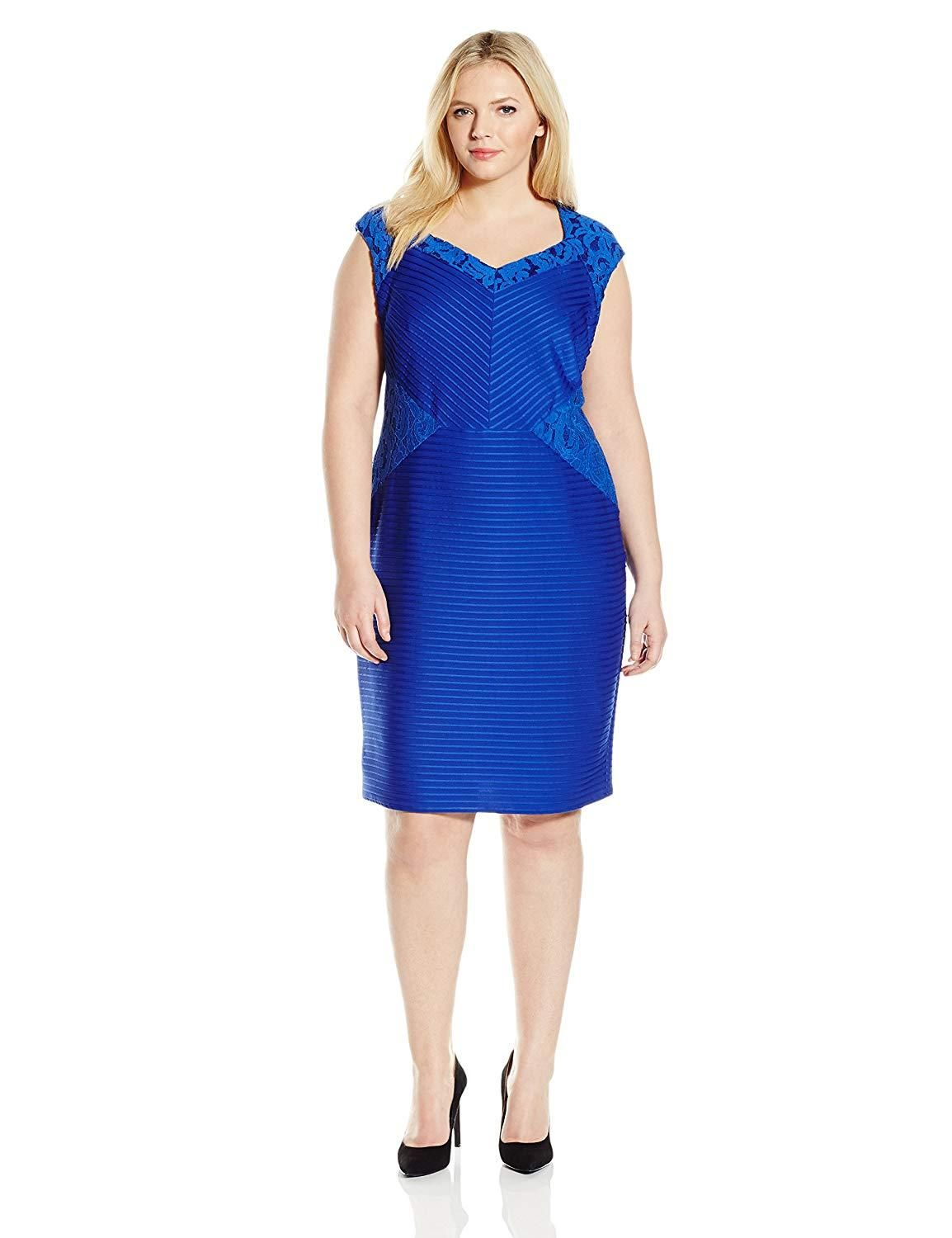 6d9f88f6025a6 London Times Women's Plus Size Cap Sleeve Sheath Dress w. Lace Inset ...