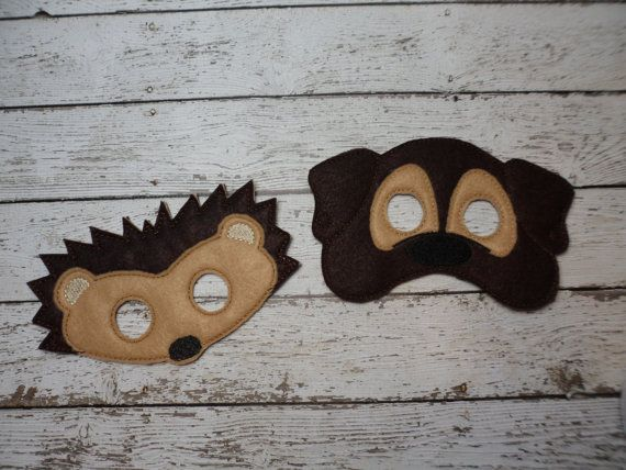 Dress Up Anmal masks Hedgehog owl mouse butterfly by AllAboutKraft