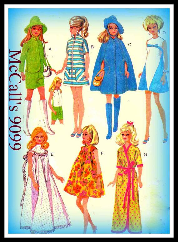 McCall\'s 9099 Sewing Pattern Mod Vintage 1960s Teen Fashion Doll\'s ...