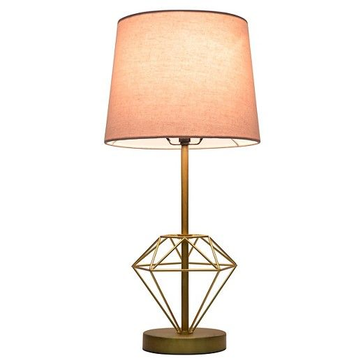 Wire Diamond Table Lamp Pink Gold Pillowfort Table Lamp Lamp Gold Desk Lamps