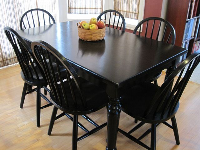 A Diy Girl With A Blog Painted Dining Room Table Black Kitchen Table Painted Kitchen Tables