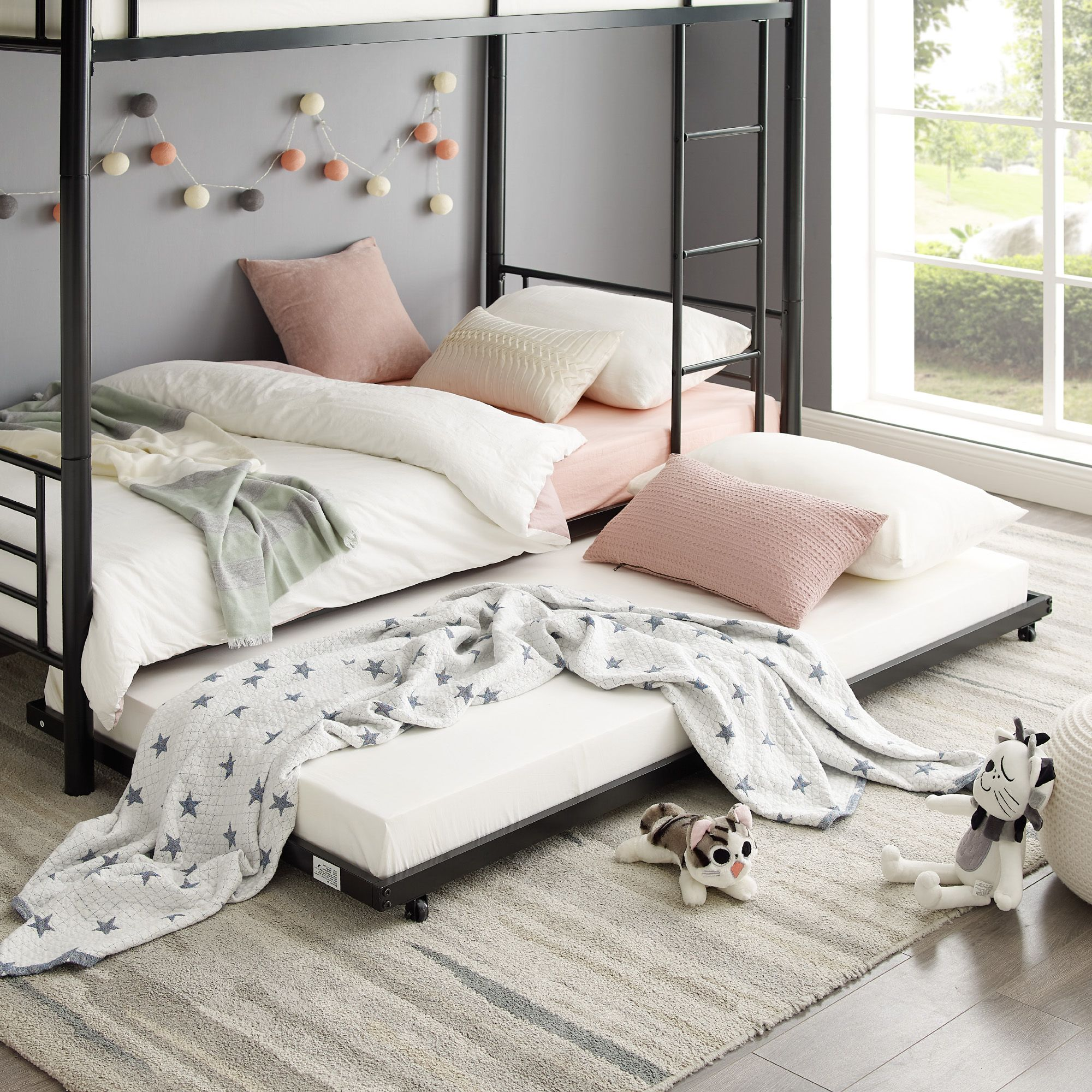 Twin Roll Out Trundle Bed Frame Black In 2020 Trundle Bed