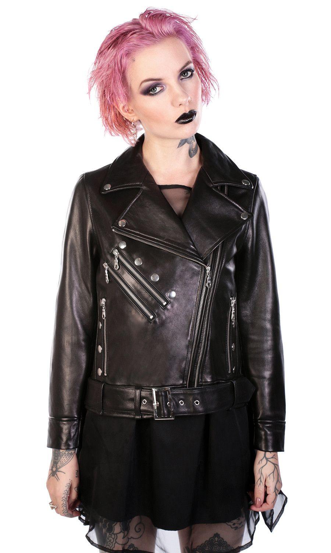 Dolls Leather Jacket #disturbiaclothing disturbia metal silver studs double zip alien goth occult grunge alternative punk