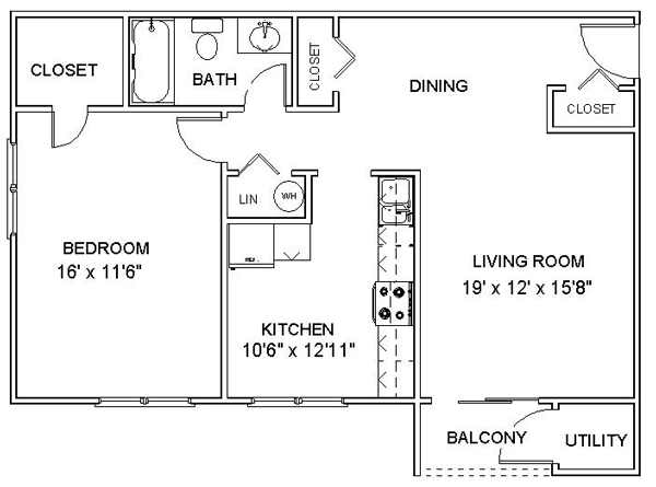 This is a nice simple floor plan for a one bedroom apartment. I ...