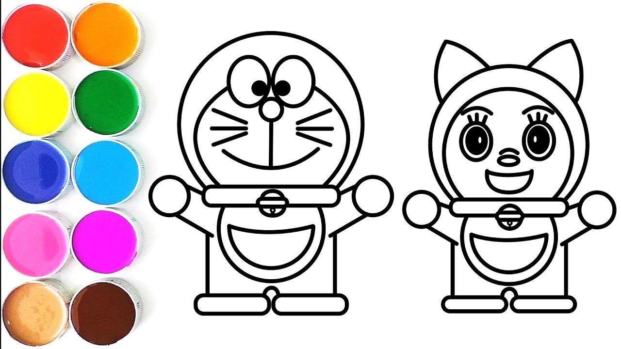 Doraemon and Dorami Coloring Pages for Kids Learn Drawing for Childrens