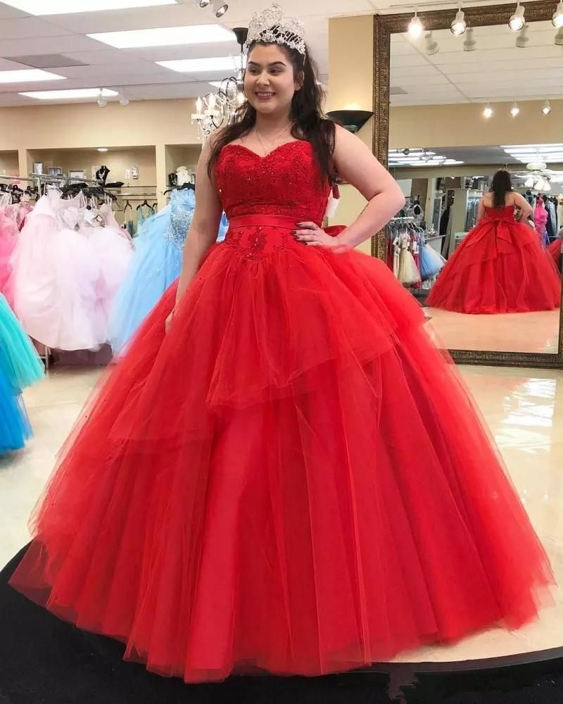2020 lovely red plus size quinceanera prom dresses