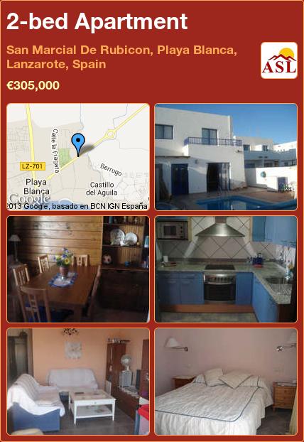 2-bed Apartment in San Marcial De Rubicon, Playa Blanca, Lanzarote, Spain ►€305,000 #PropertyForSaleInSpain