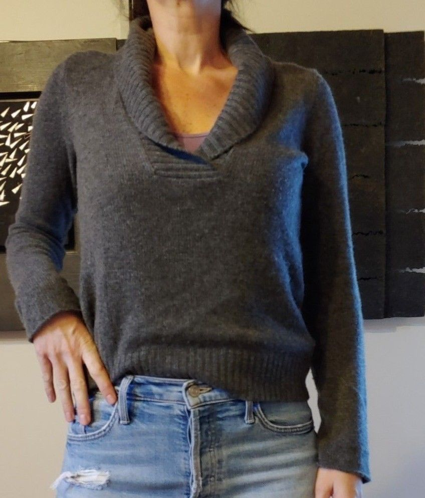 5d3f35111 J Crew Charcoal Shawl Collar Cashmere Sweater Size M  fashion  clothing   shoes