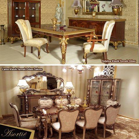 Sidelya Klasik Yemek Odas Latte Takm Classic Dining Room