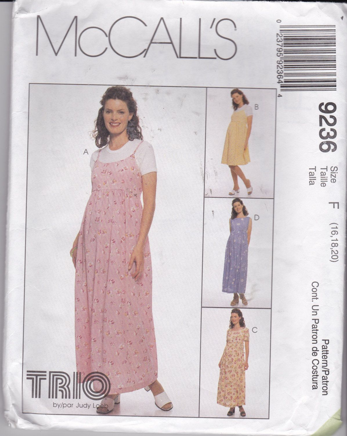 McCalls 9236 Size 16, a TRIO by Judy Loeb pattern for a Maternity ...