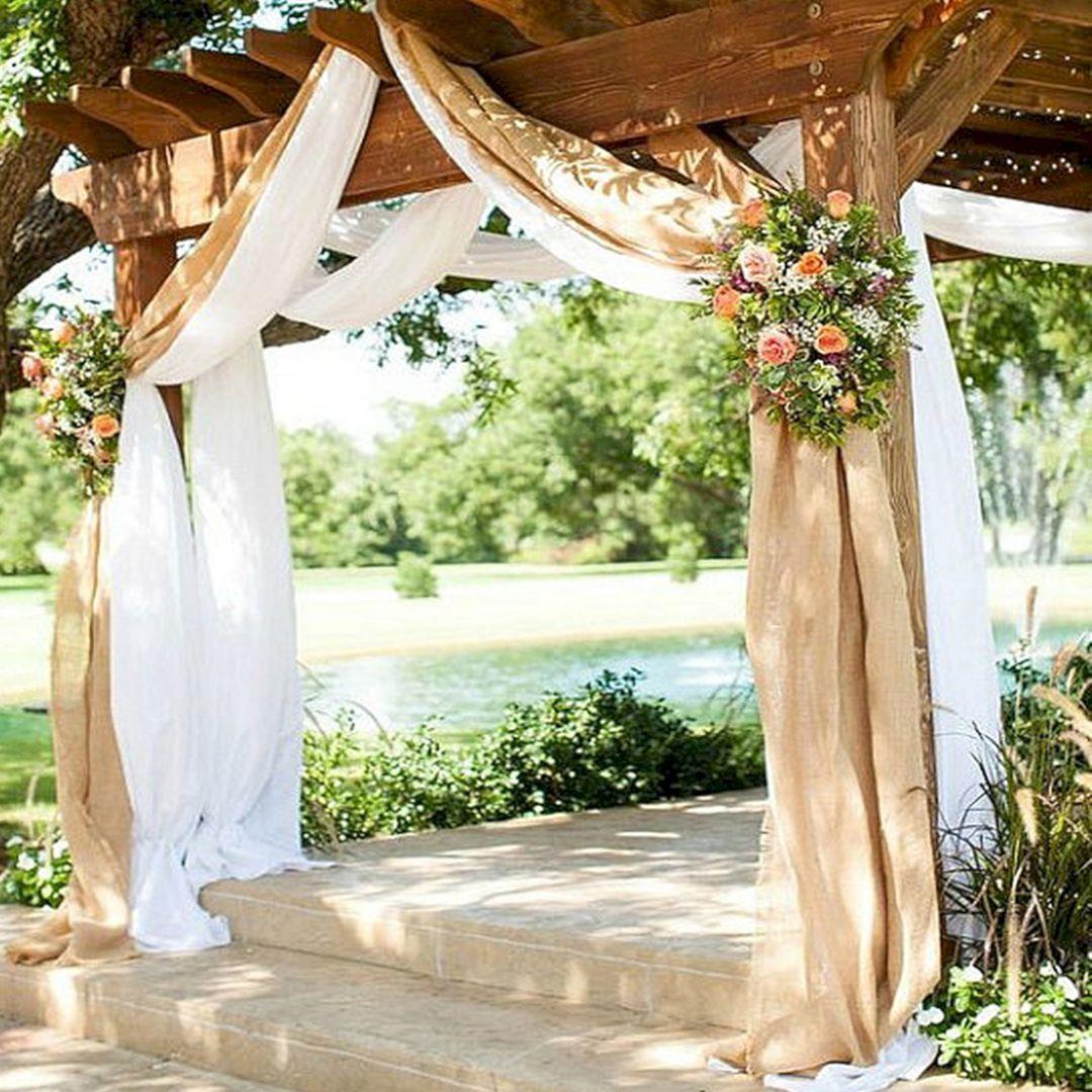 15 Wonderful Wedding Arches Ideas That Will Upgrade Your Wedding Ceremony Burlap Wedding Decorations Rustic Curtains Wedding Pergola