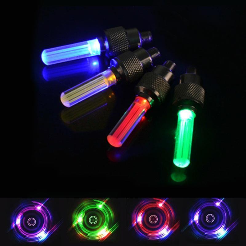 2 개 자전거 빛 LED 자전거 휠 타이어 밸브 깜박임 줄기 자동차 오토바이 장식 자전거 화려한 자전거 액세서리